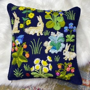 Vintage 1970s Crewel Embroidery Pillow Floral